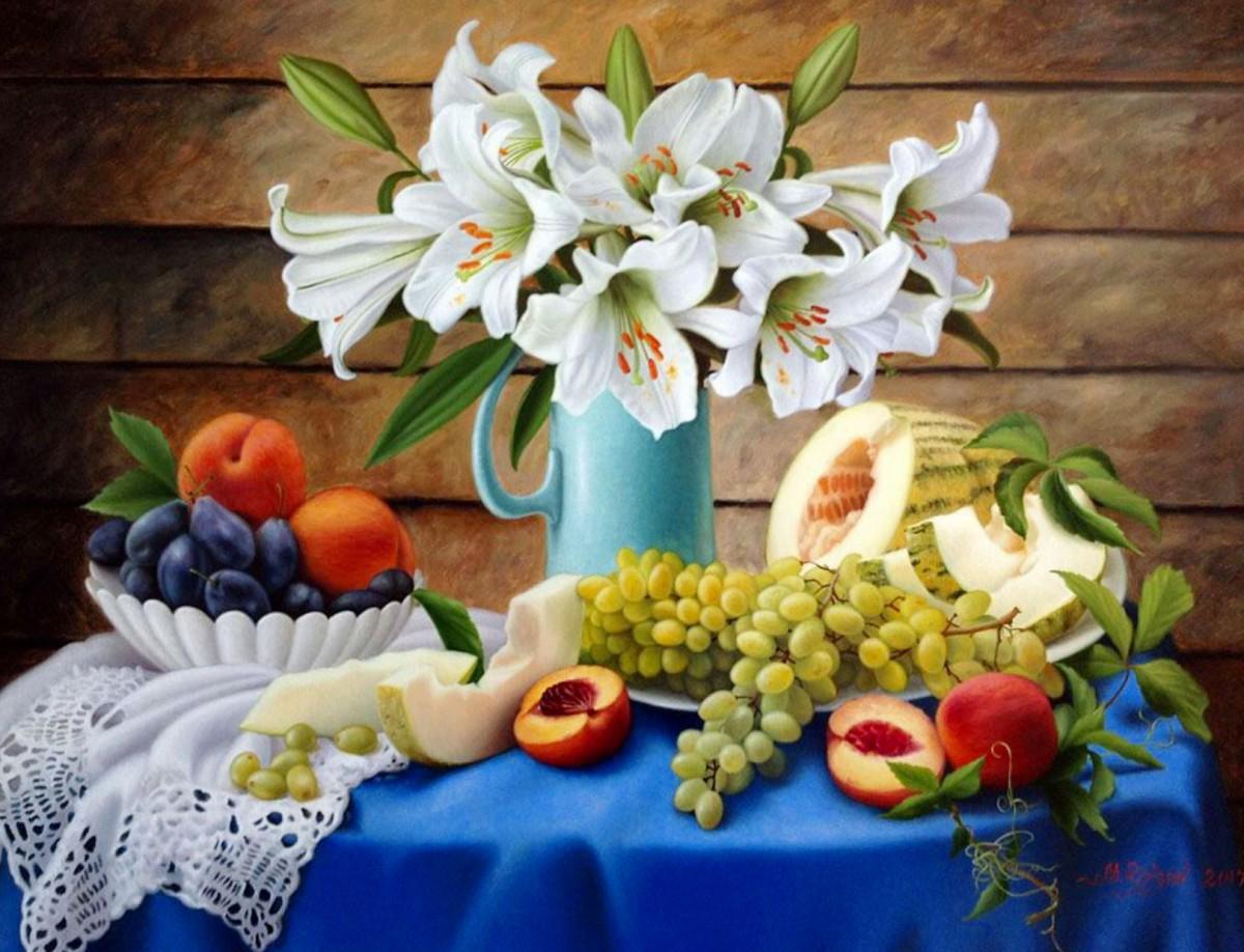 O quebra-cabeça Recolher o quebra-cabeças on-line - Lilies and fruit