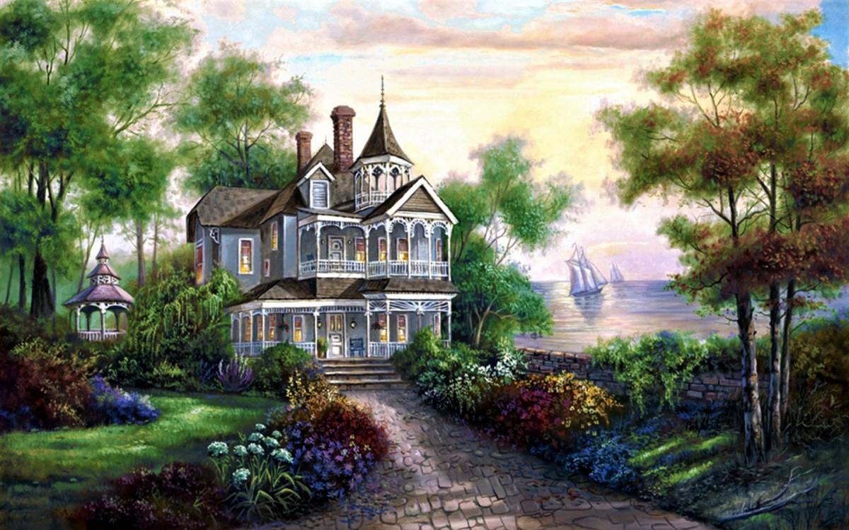 O quebra-cabeça Recolher o quebra-cabeças on-line - Mansion on the shore