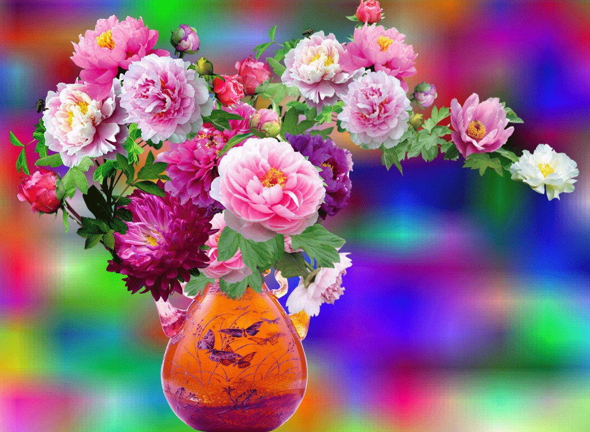 O quebra-cabeça Recolher o quebra-cabeças on-line - Peonies in a vase