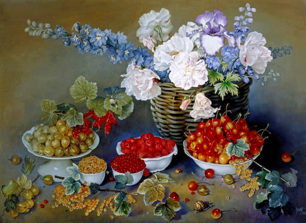 O quebra-cabeça Recolher o quebra-cabeças on-line - Flowers and berries