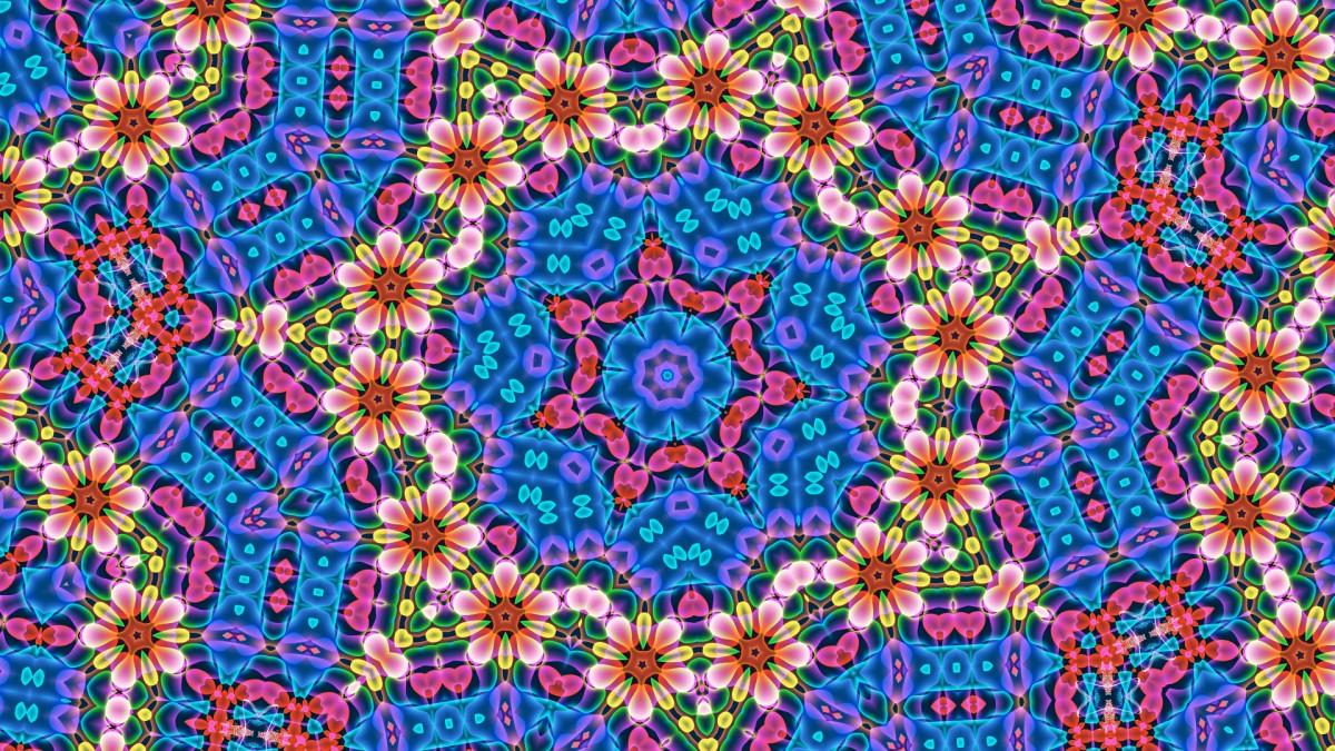 O quebra-cabeça Recolher o quebra-cabeças on-line - Flowers in a kaleidoscope