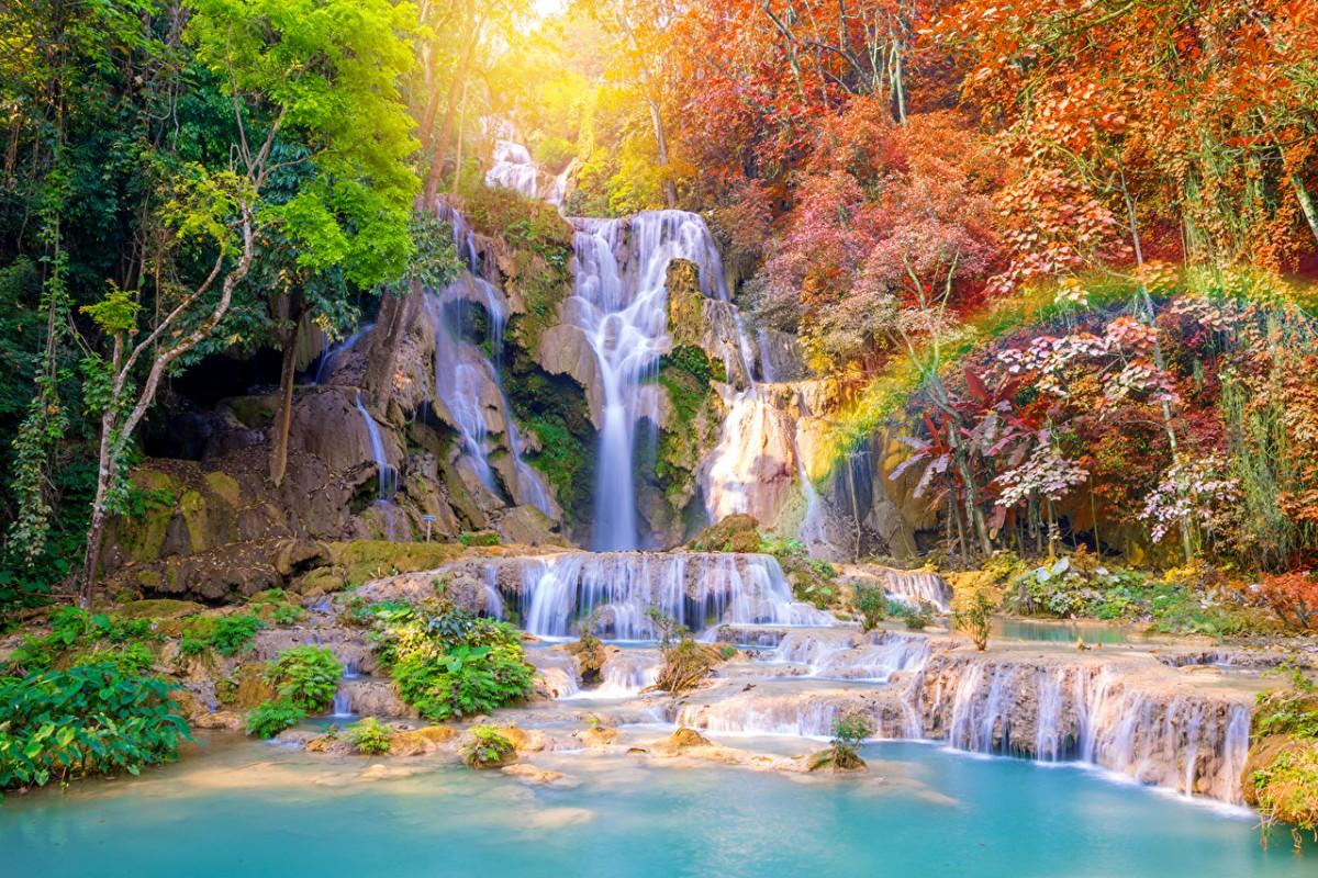 O quebra-cabeça Recolher o quebra-cabeças on-line - Waterfall in the tropics