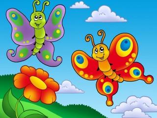Собирать пазл Butterfly and flower онлайн