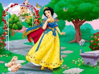 Собирать пазл Snow White in garden онлайн