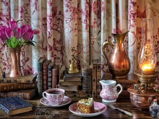 Собирать пазл Tea and lamp онлайн