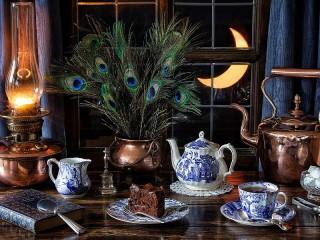 Собирать пазл Tea under the moon онлайн