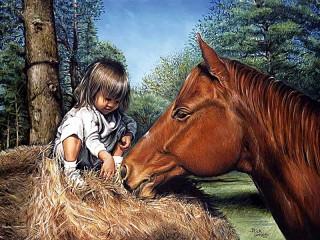 Собирать пазл Girl and horse онлайн