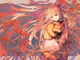 Собирать пазл Girl with a fox онлайн