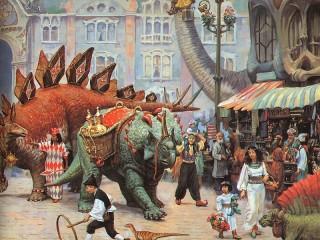 Собирать пазл Dinosaurs on market онлайн
