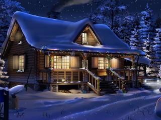 Собирать пазл The house with the garland онлайн