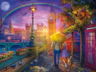Собирать пазл Rain in London онлайн