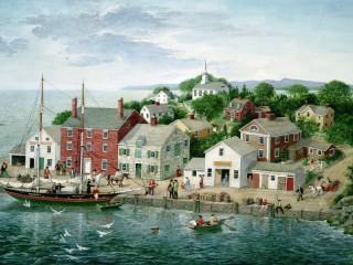 Собирать пазл Town at the sea  онлайн