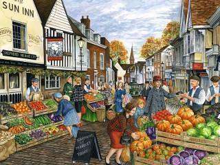 Собирать пазл City market онлайн