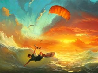 Собирать пазл Kitesurfing онлайн