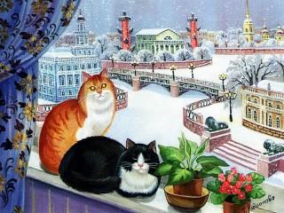 Собирать пазл Cats on the window онлайн