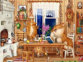 Собирать пазл Cat and mice онлайн