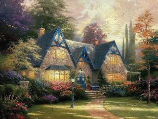 Собирать пазл Kinkade cottage  онлайн