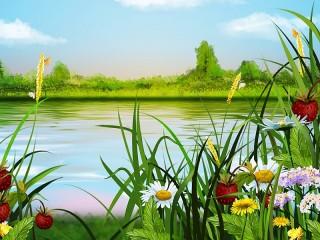 Собирать пазл Summer landscape онлайн