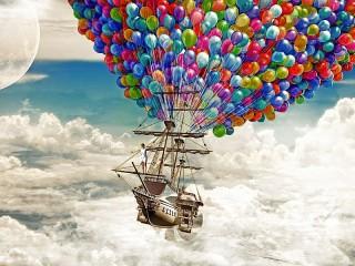 Собирать пазл Flying ship онлайн