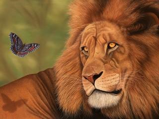 Собирать пазл The lion and the butterfly онлайн