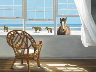 Собирать пазл Horses on the beach онлайн