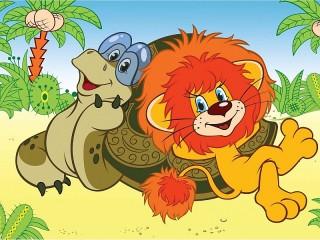 Собирать пазл Lion and turtle онлайн