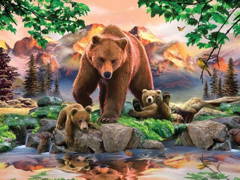 O quebra-cabeça Recolher o quebra-cabeças on-line - Bears 1