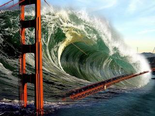 Собирать пазл Bridge and tsunami онлайн