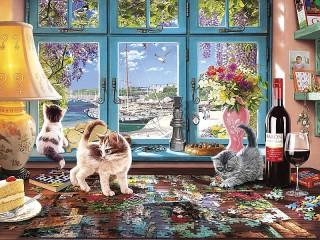 Собирать пазл Kittens and puzzles онлайн