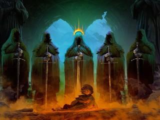 Собирать пазл The Nazgul and the hobbit онлайн