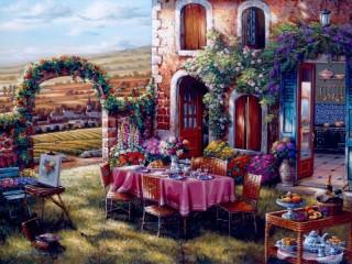 Собирать пазл Dinner in the yard онлайн