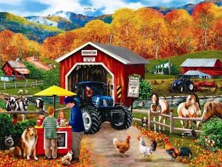 Собирать пазл Autumn on the farm онлайн