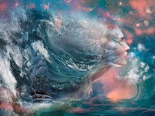 Собирать пазл Under the raging wave онлайн