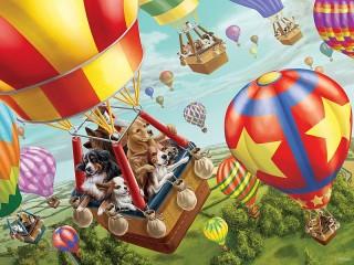 Собирать пазл Flight on the balloon онлайн