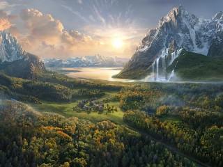Собирать пазл Settlement in the valley онлайн