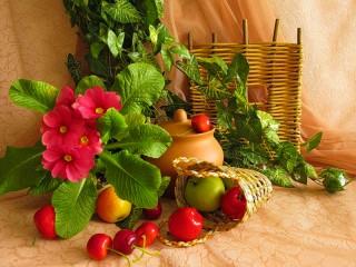 Собирать пазл Primrose and fruit онлайн