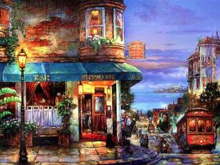 Собирать пазл The restaurant on the corner онлайн