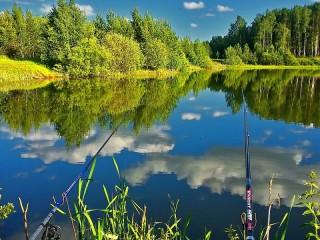 Собирать пазл Ribalka na ozere онлайн