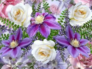 Собирать пазл Roses and clematis онлайн