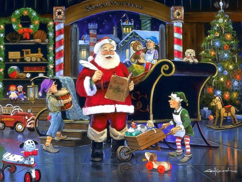 O quebra-cabeça Recolher o quebra-cabeças on-line - Santa Claus at work