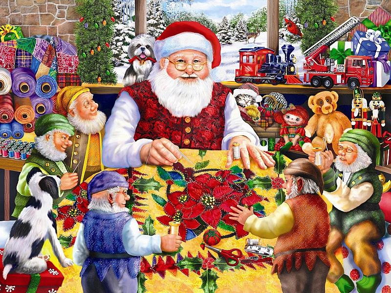 O quebra-cabeça Recolher o quebra-cabeças on-line - Santa shet