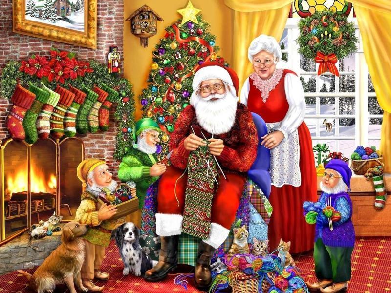 O quebra-cabeça Recolher o quebra-cabeças on-line - Knitting Santa