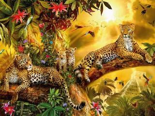 Собирать пазл Leopards family онлайн