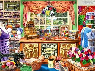 Собирать пазл Sewing shop онлайн