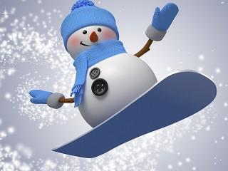 Собирать пазл Snowman snowboarder онлайн