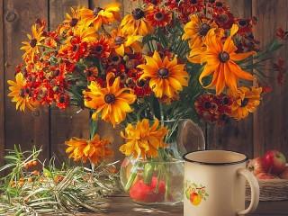 Собирать пазл Zinnias in a vase онлайн