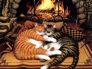 Собирать пазл At the fireplace онлайн