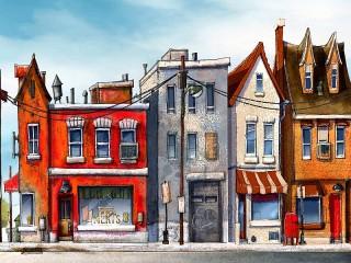 Собирать пазл Street Watercolor онлайн