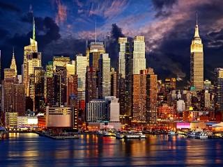 Собирать пазл Evening Manhattan онлайн