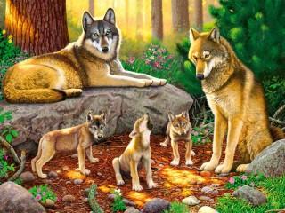 Собирать пазл Wolf family онлайн